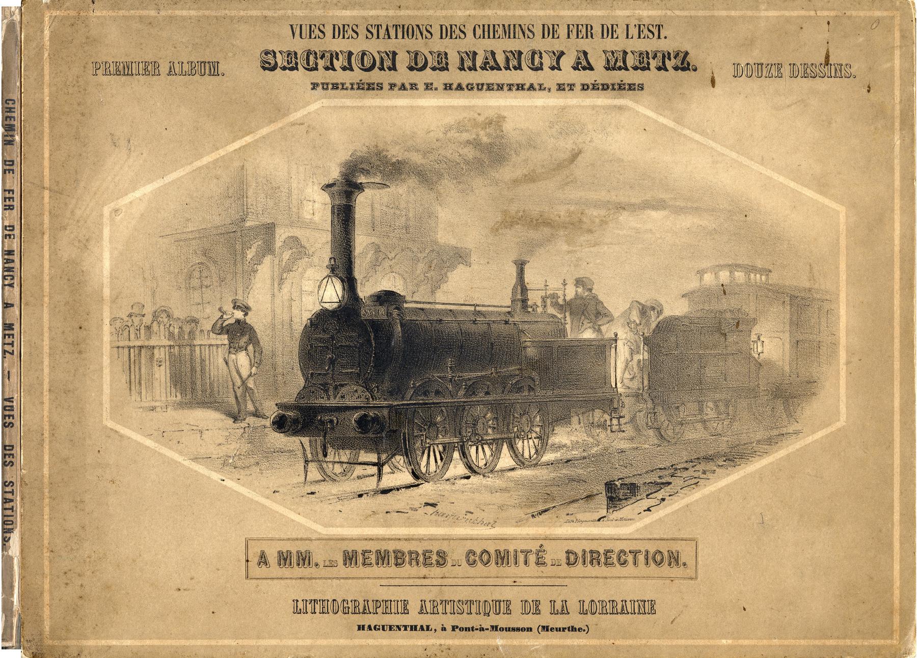Contenu du Vues des stations des chemins de fer de l'Est. Section de Nancy à Metz.