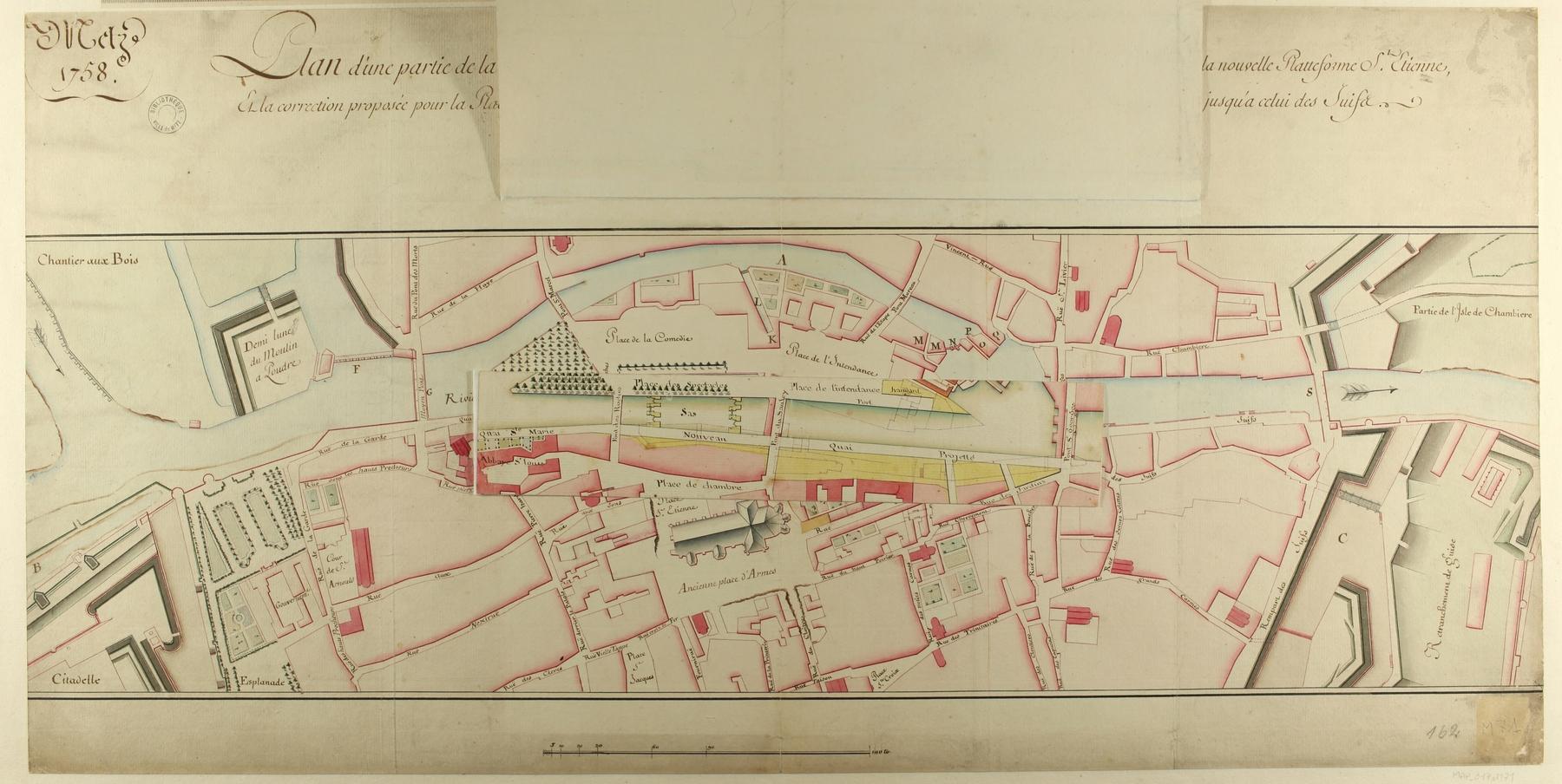 Contenu du Plan d'une partie de la Ville de Metz, pour servir à se faire connaître les projets de la nouvelle place de la cathédrale…