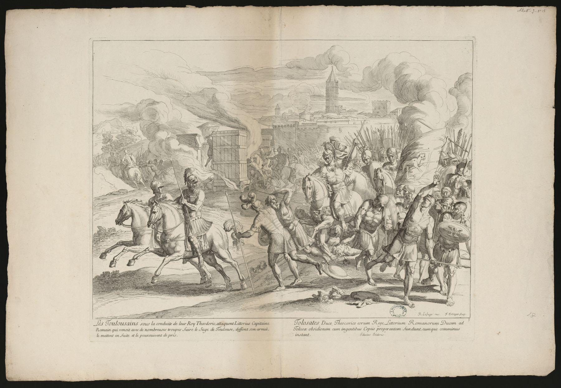 Contenu du Les Toulousains sous la conduite de leur Roy Theodoric, attaquent Littorius Capitaine Romain...