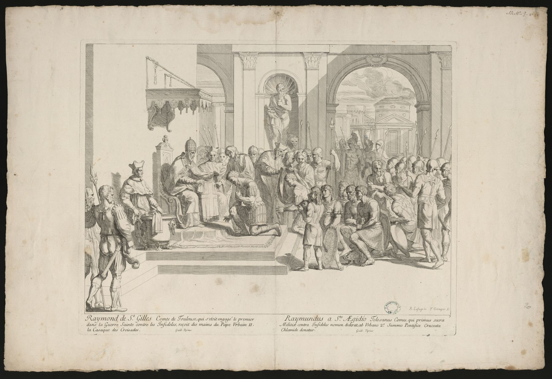 Contenu du Raymond de St Gilles, Comte de Toulouse … reçoit du Pape Urbain II la Casaque des Croisades