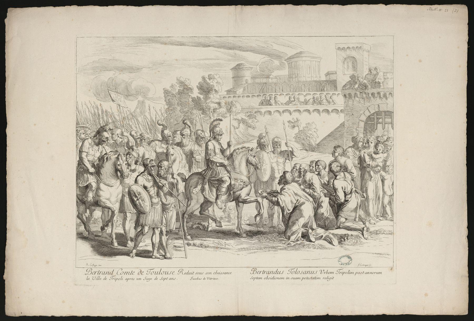 Contenu du Bertrand Comte de Toulouse réduit sous son obéissance la Ville de Tripoli