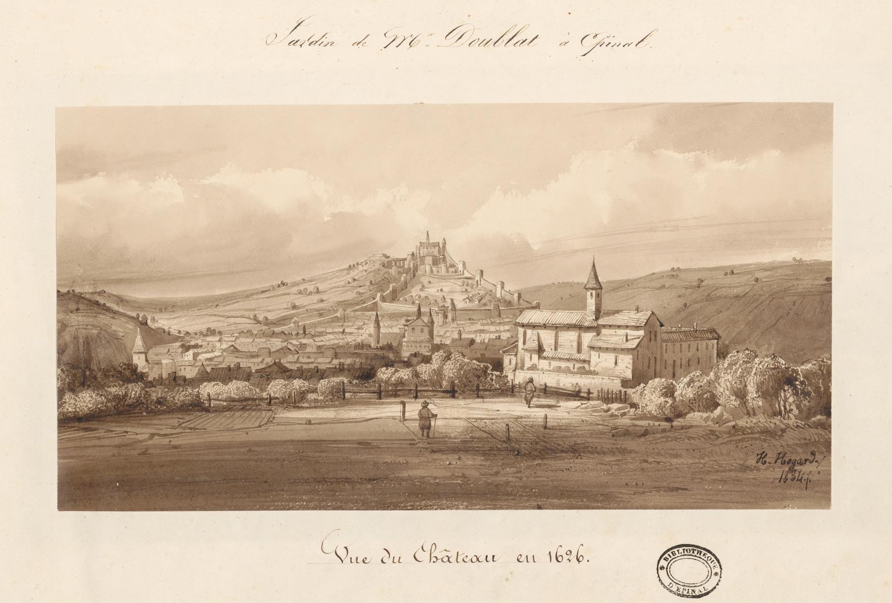 Contenu du Le château d'Epinal : Vue du château en 1626, par Hogard en 1834