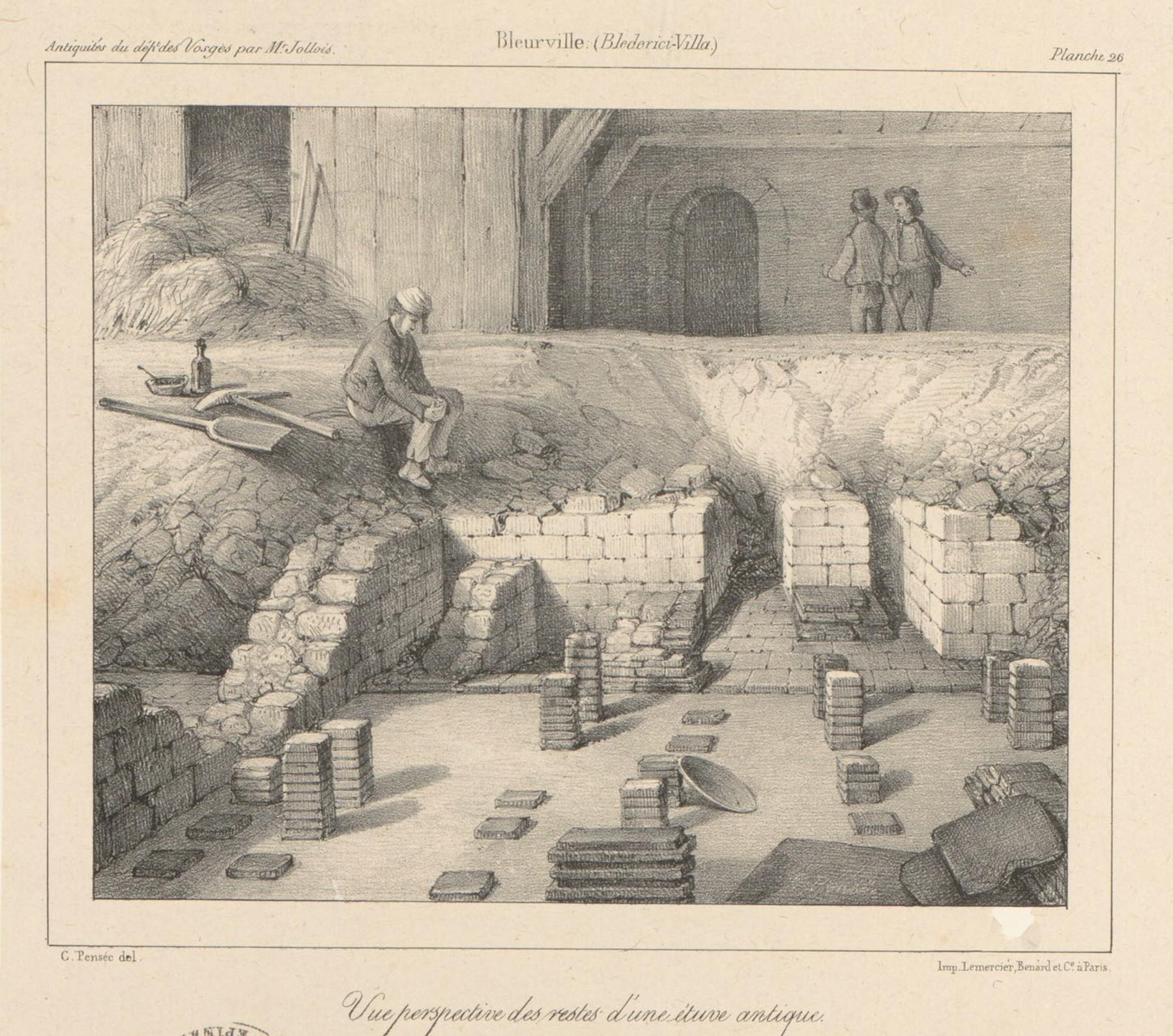 Contenu du Bleurville. Vue perspective des restes d'une étuve antique