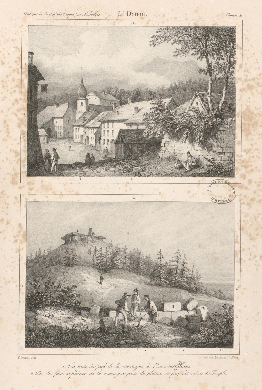 Contenu du Le Donon. Vue prise du pied de la montagne à Raon-sur-Plaine. Vue du faîte supérieur de la montagne prise du plateau en face des ruines du temple