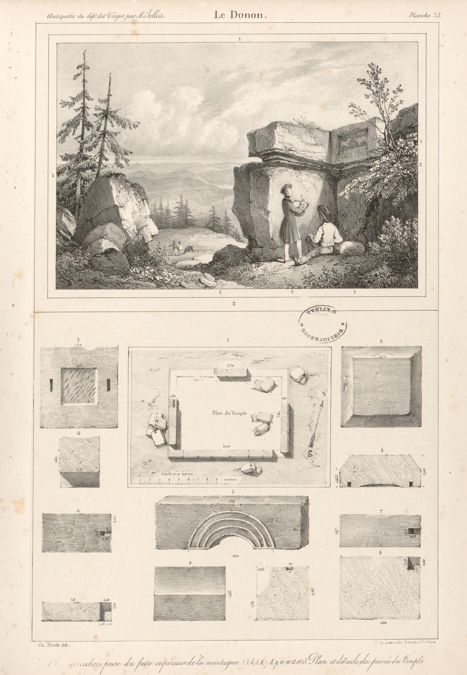 Contenu du Le Donon. Vue des rochers prise du faîte supérieur de la montagne. Plan et détails des pierres du temple