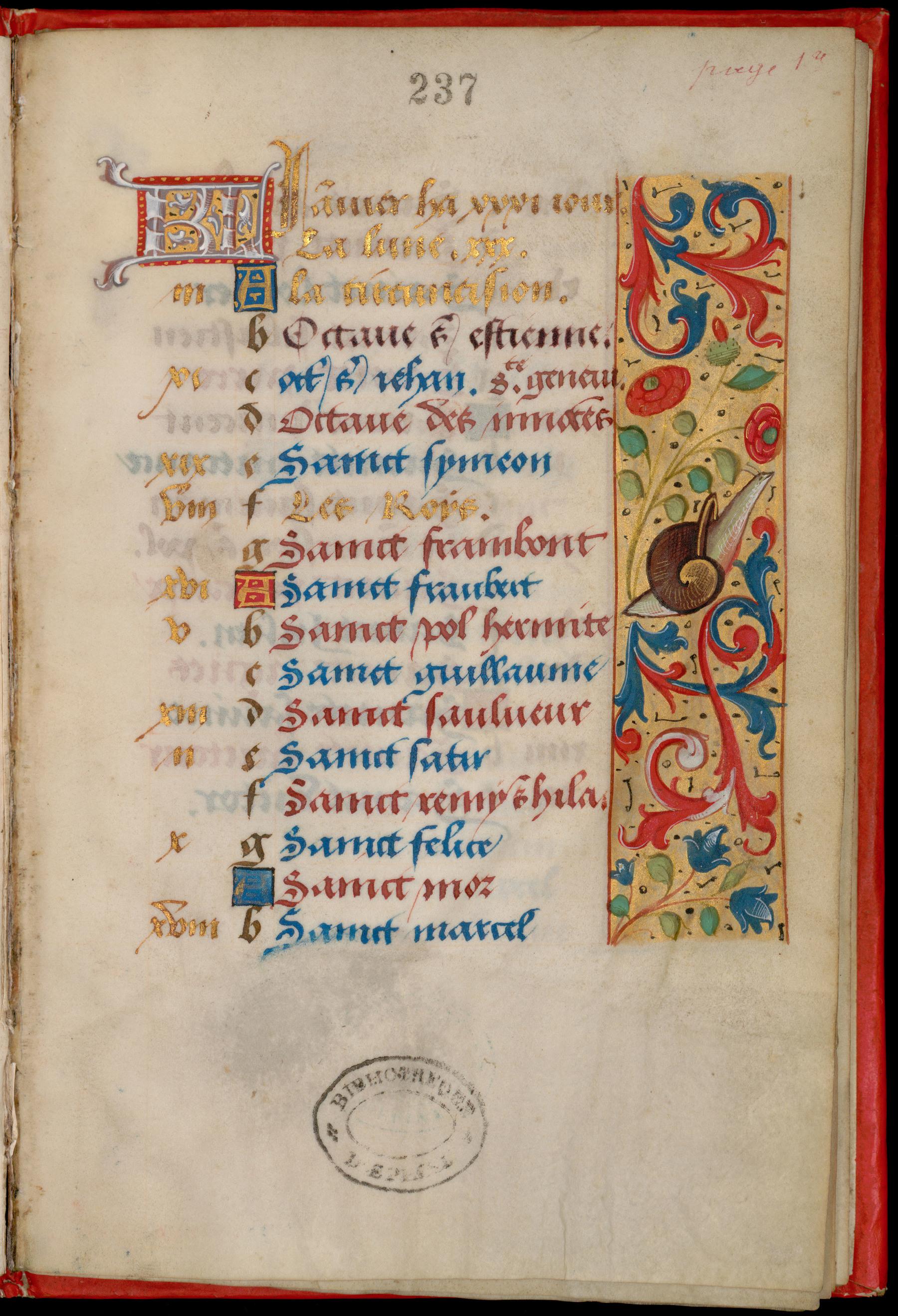 Contenu du Calendrier à l'usage du diocèse de Toul