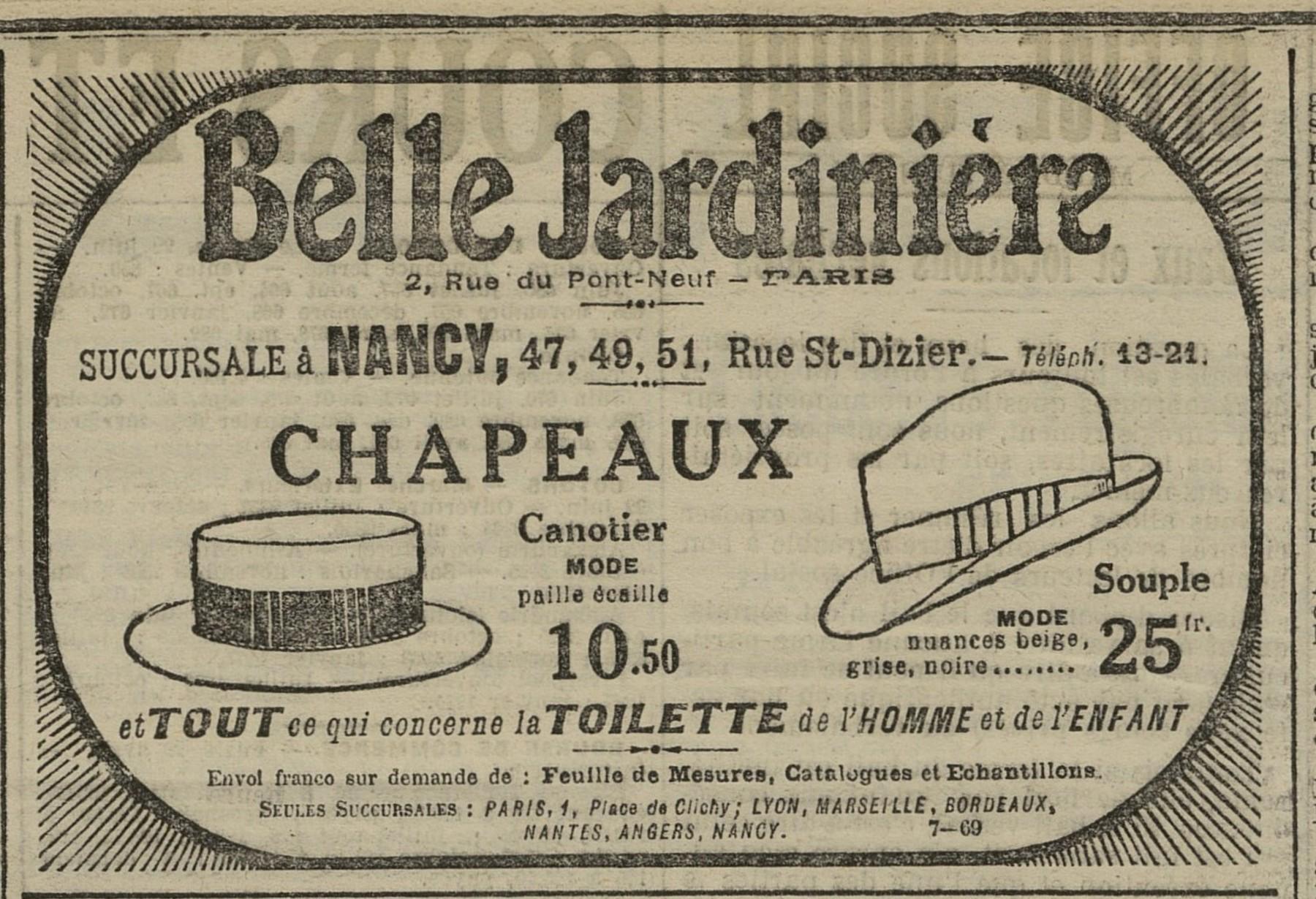 Contenu du Chapeaux Belle Jardinière