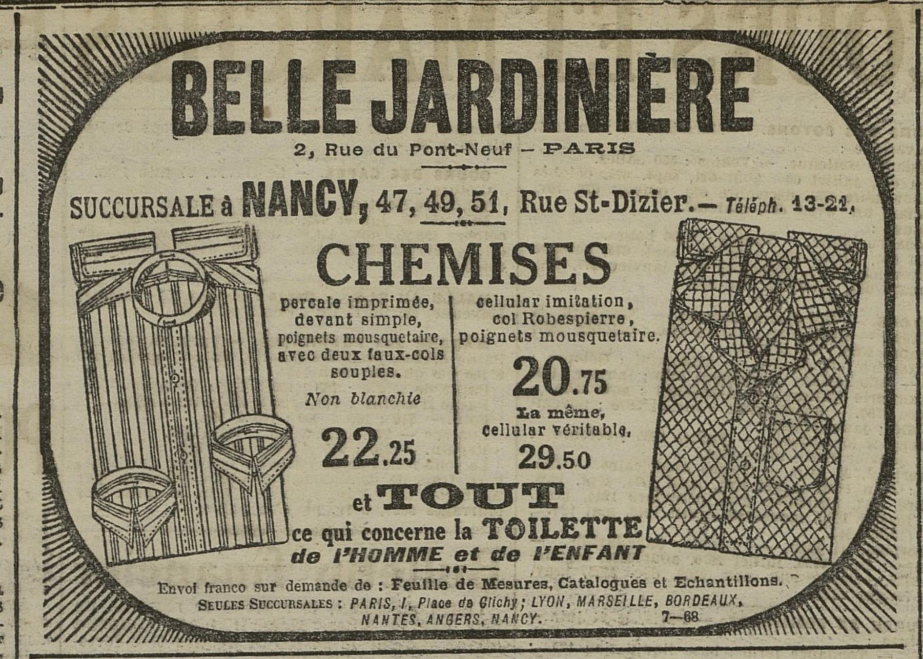 Contenu du Chemises Belle Jardinière