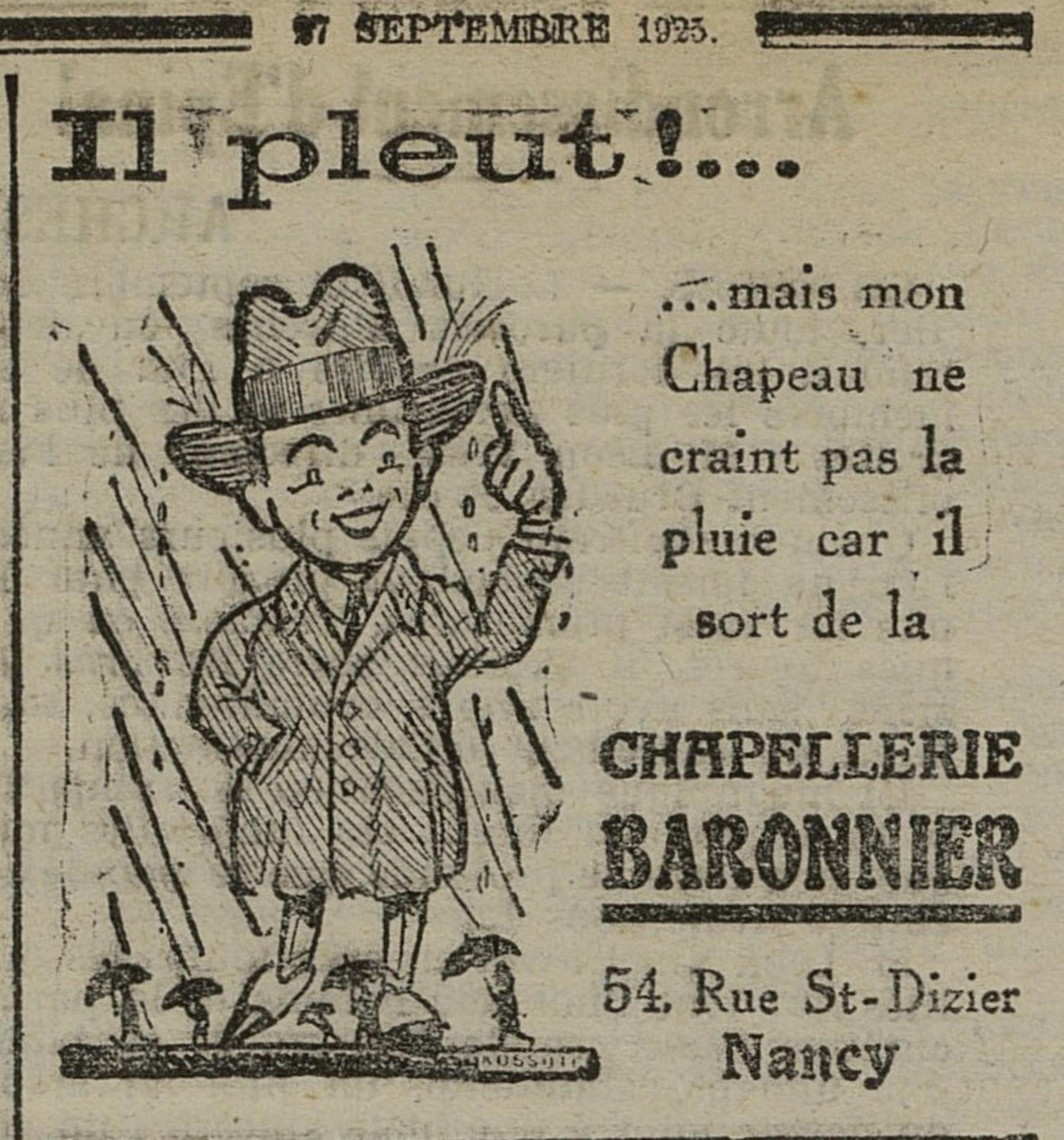 Contenu du Chapellerie Baronnier