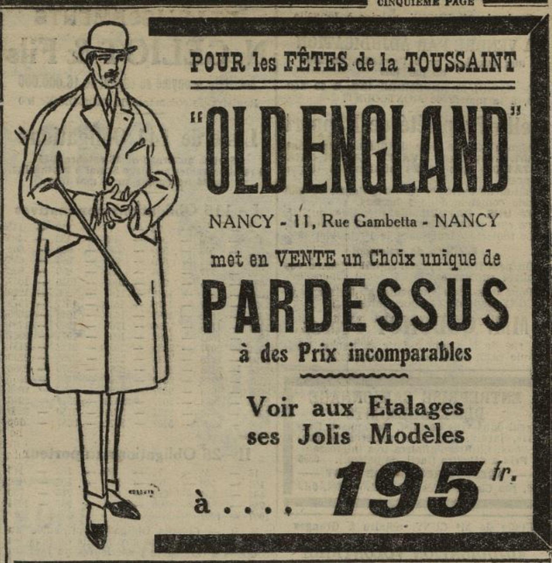 Contenu du Pardessus Old England