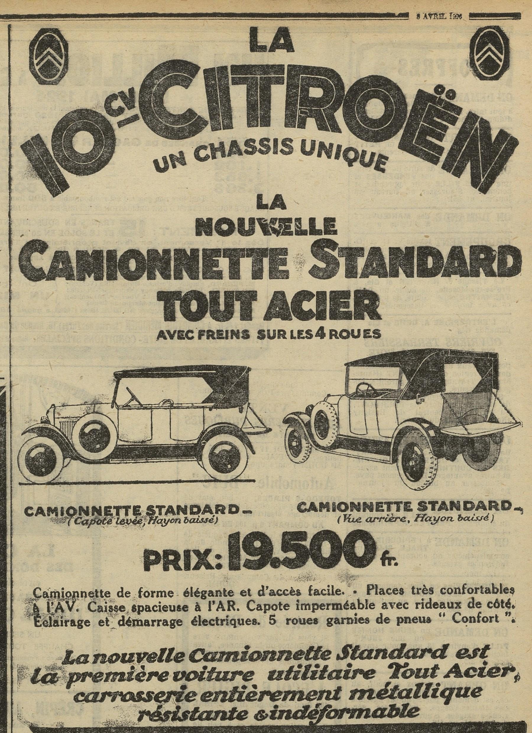 Contenu du 10 CV Citroën