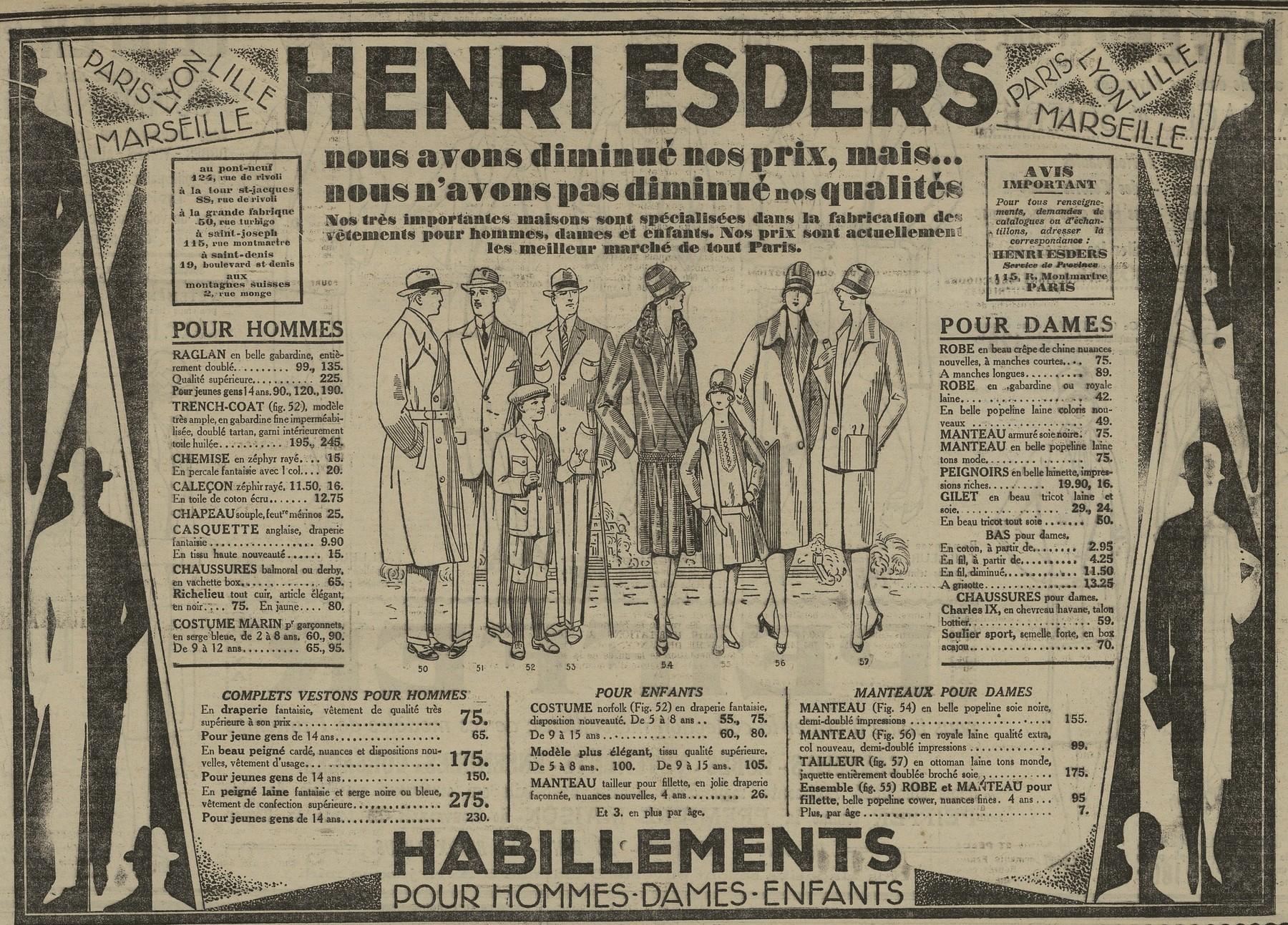 Contenu du Vêtements Henri Esders