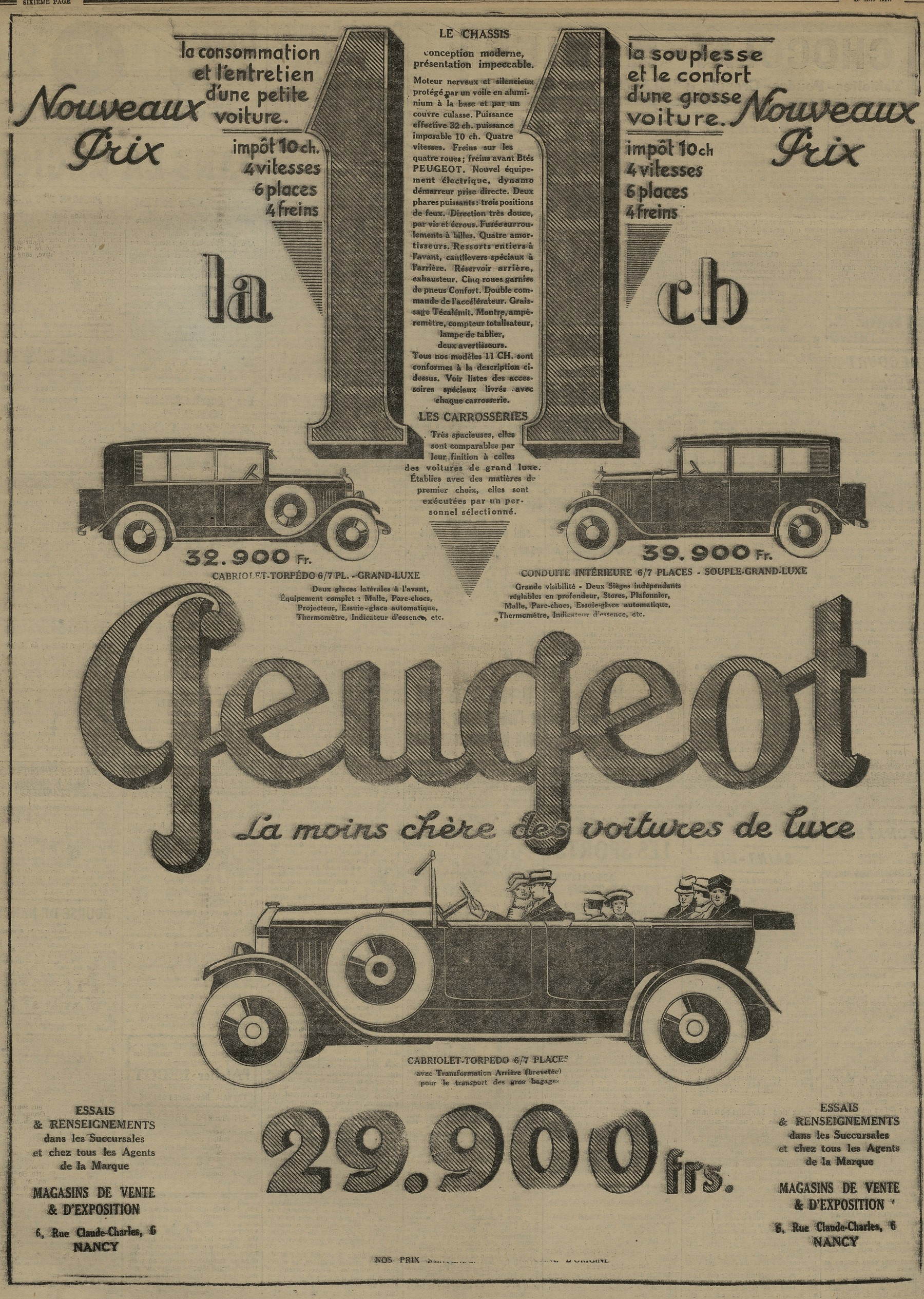Contenu du 11 CV Peugeot