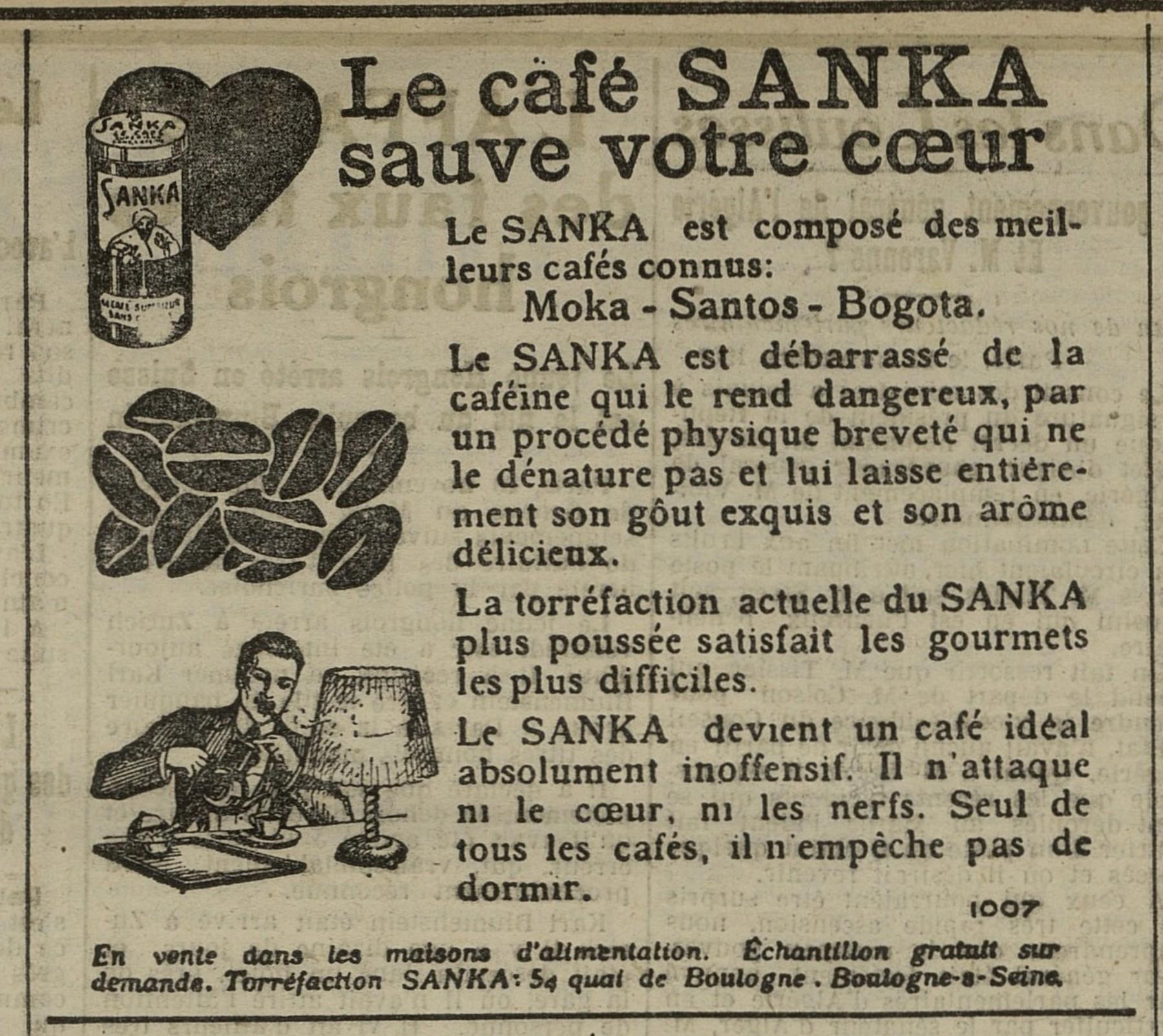 Contenu du Café Sanka