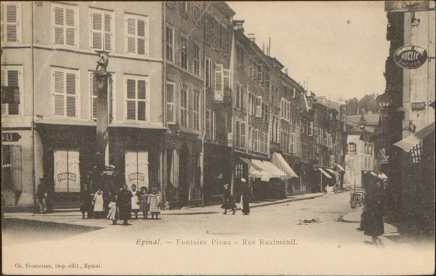 Contenu du Épinal, Fontaine Pinau, Rue Rualménil