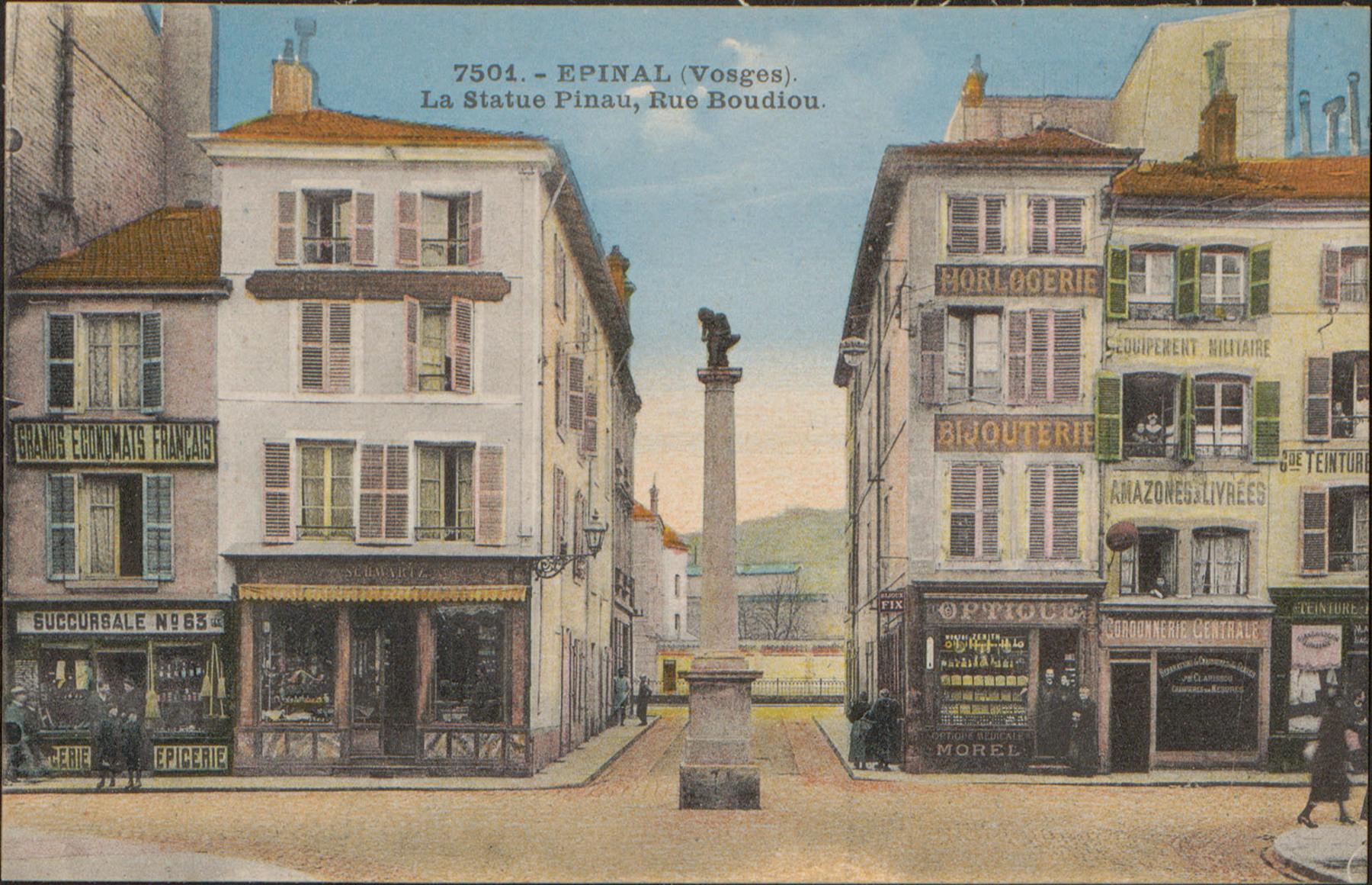 Contenu du Épinal, La Statue Pinau, Rue Boudiou