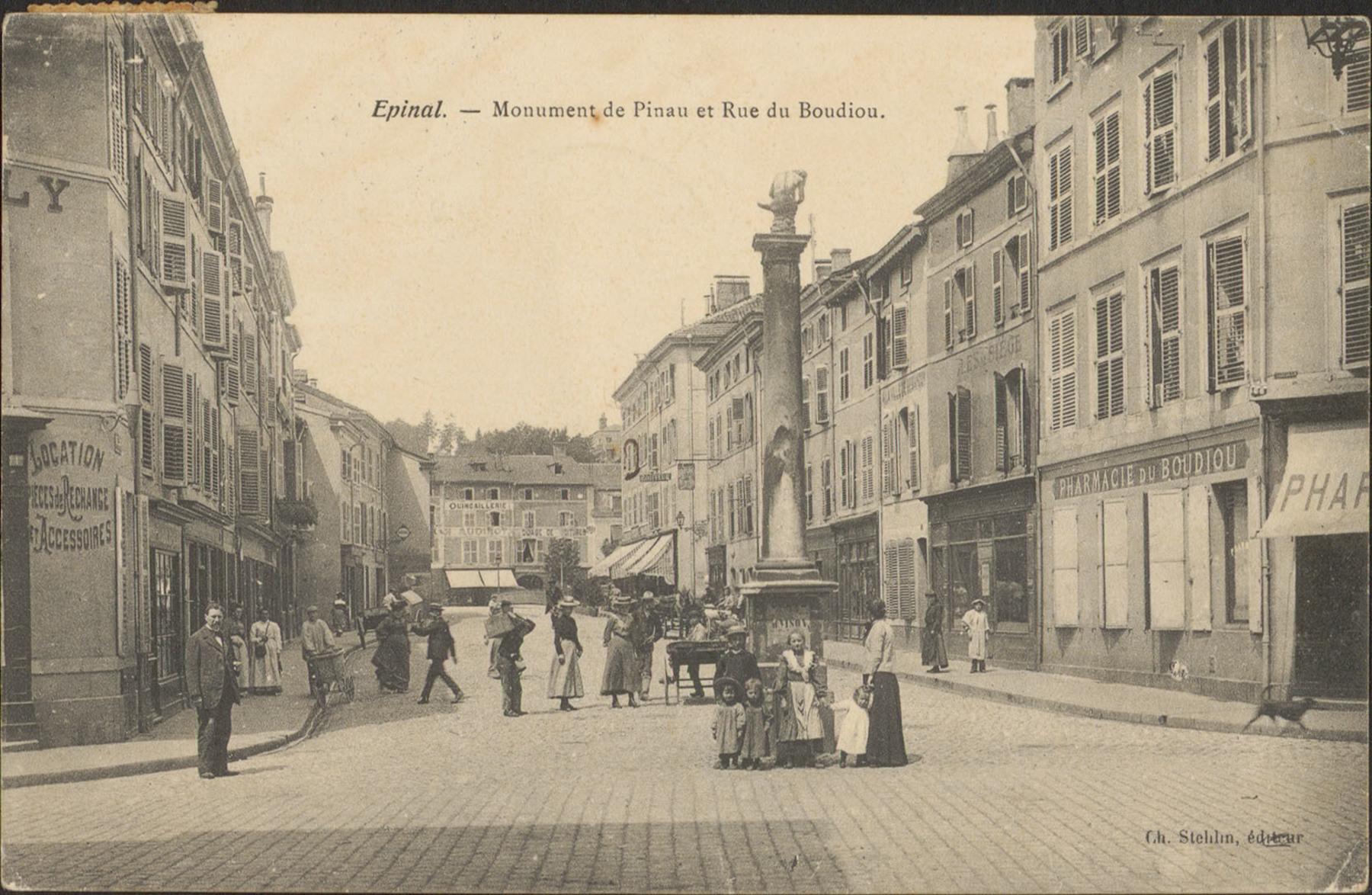 Contenu du Épinal, Monument de Pinau et Rue du Boudiou