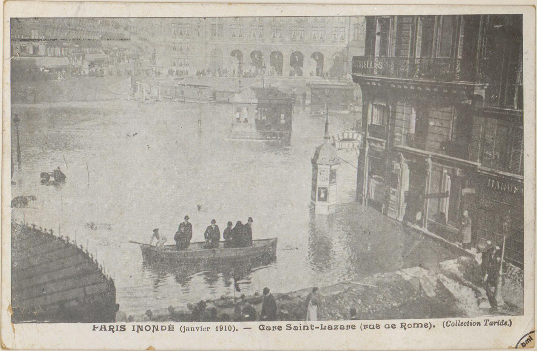 Contenu du Paris inondé (janvier 1910), Gare Saint-Lazare (rue de Rome)