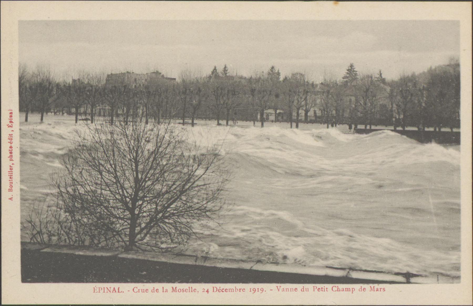 Contenu du Épinal, Crue de la Moselle, 24 décembre 1919, Vanne du Petit Champ de Mars