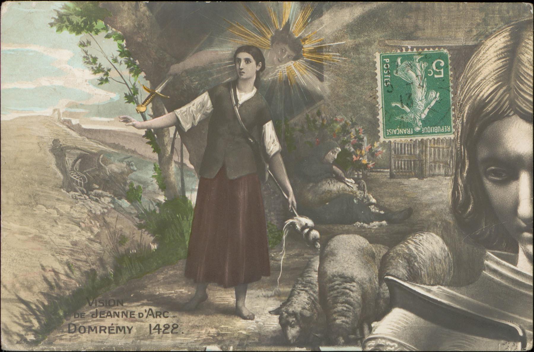 Contenu du Jeanne d'Arc, jeune bergère, se voit en guerrière au cours d'une apparition mystique à Domrémy.