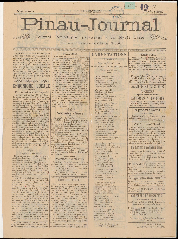 Contenu du Pinau-Journal : Journal périodique paraissant à la marée basse