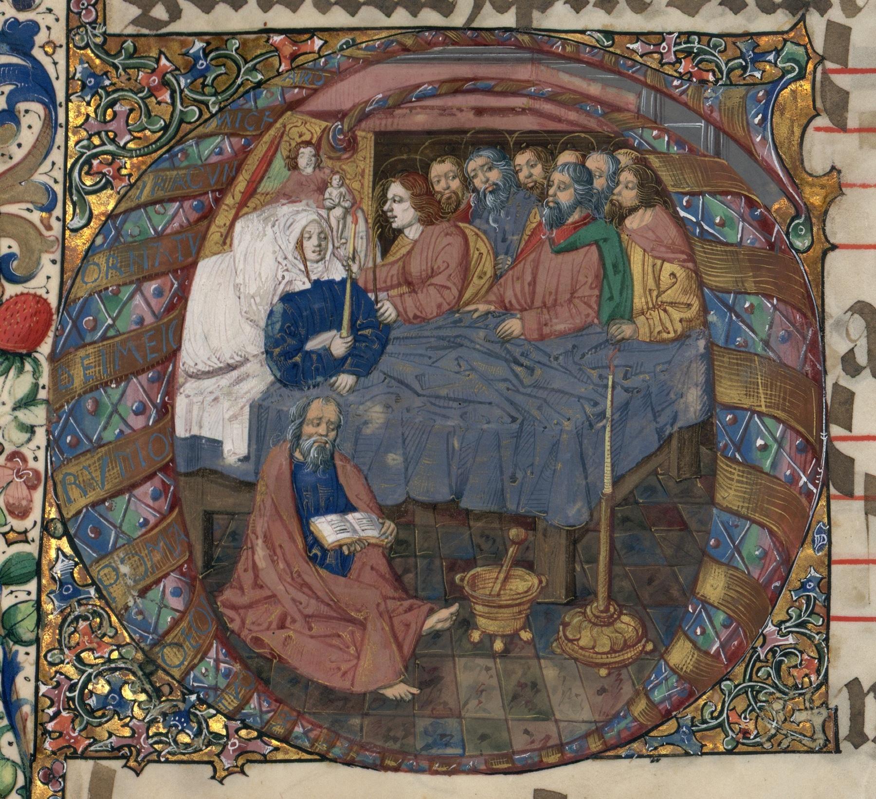 Contenu du Mort de la Vierge, lettrine extraite du Graduel de Saint-Dié. Lettre historiée G