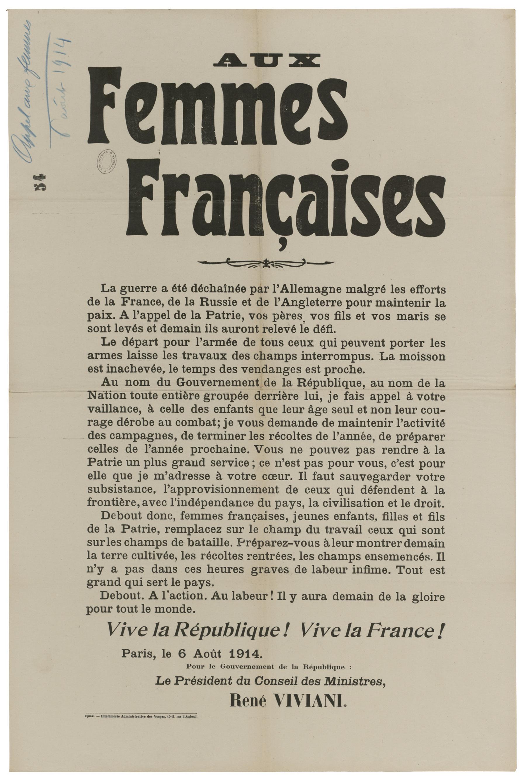 Contenu du Aux femmes françaises. Le départ pour l'armée de tous ceux qui peuvent porter les armes.