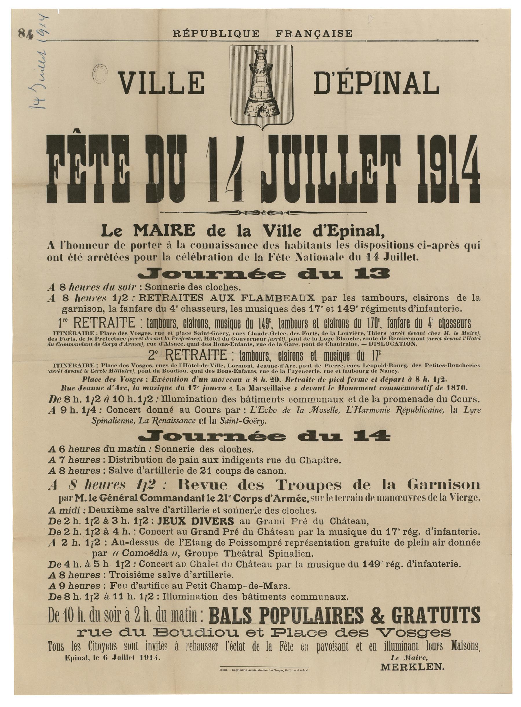 Contenu du Affiche de la fête du 14 juillet 1914 à Épinal