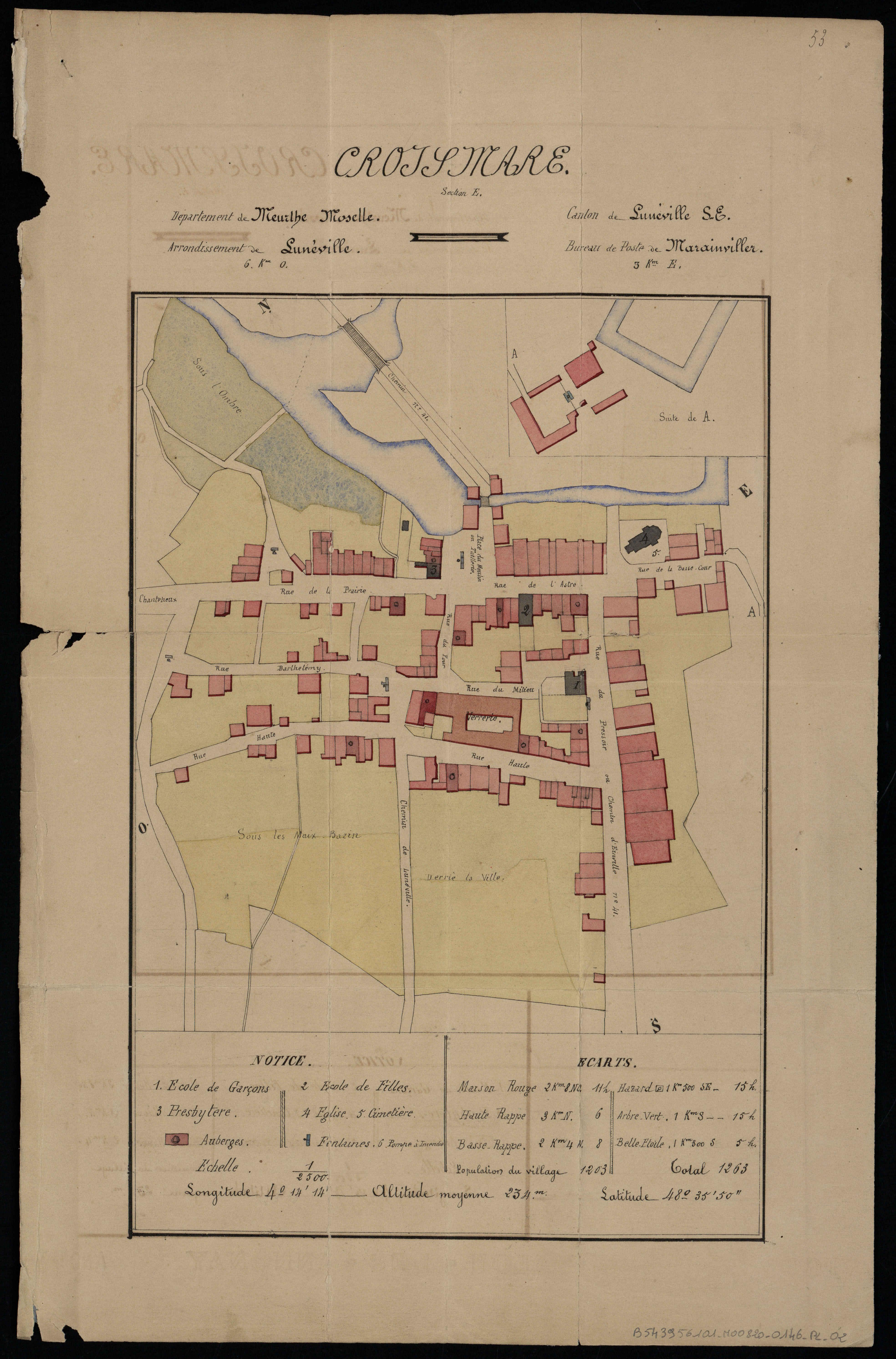 Plan de la ville de Croismare, extrait des monographies communales