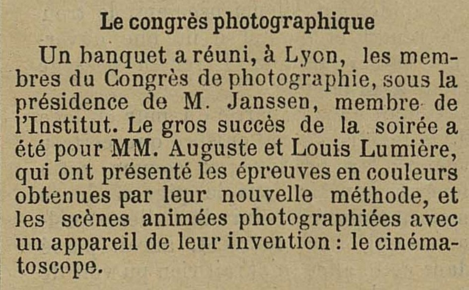 Contenu du L'invention du cinématographe
