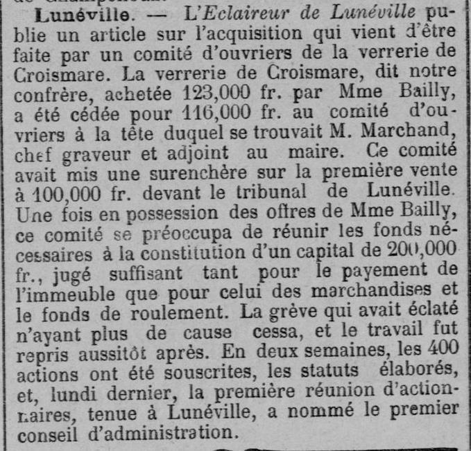 Comité L'union du capital et du travail dans Le Courrier de Metz du 6 avril 1894