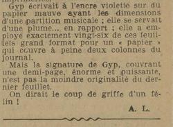 L'Est Républicain, 5 juillet 1932, commentaire sur le graphisme de Gyp