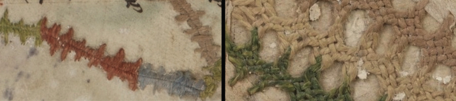 Détail, à gauche d'une suture, à droite d'une broderie